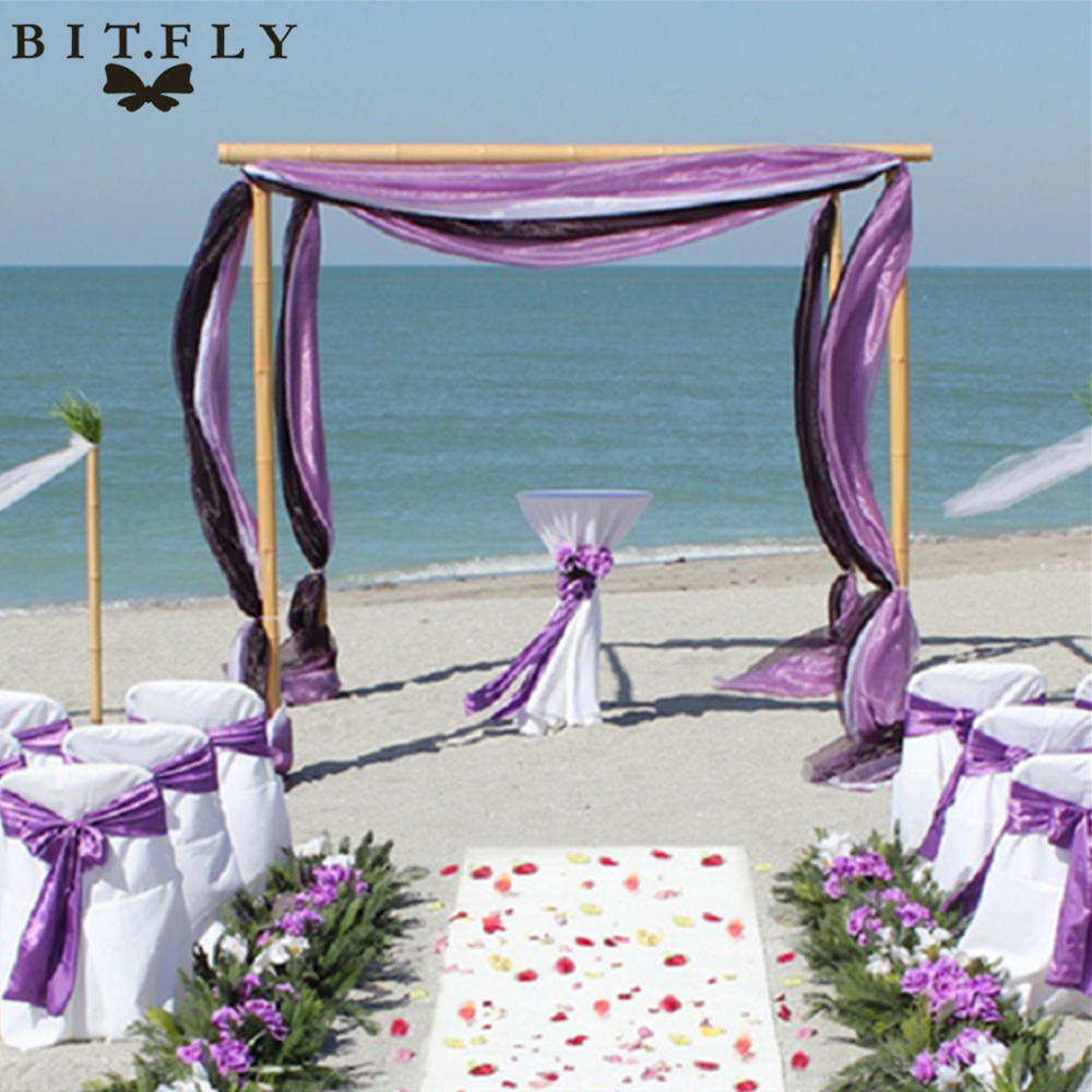beach wedding decorations diy color black wedding backdrop table curtain10m 1 35m sheer 1575