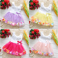 Летние Дети Новорожденных Девочек Бутик Одежды Платья Красивый Цветок Petels Пачки Girl Party Dress Девочка 1 Год Рождения Dress
