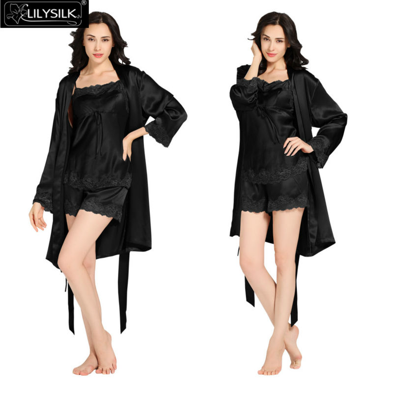 1000-black-22-momme-short-lacey-silk-camisole--dressing-gown-set
