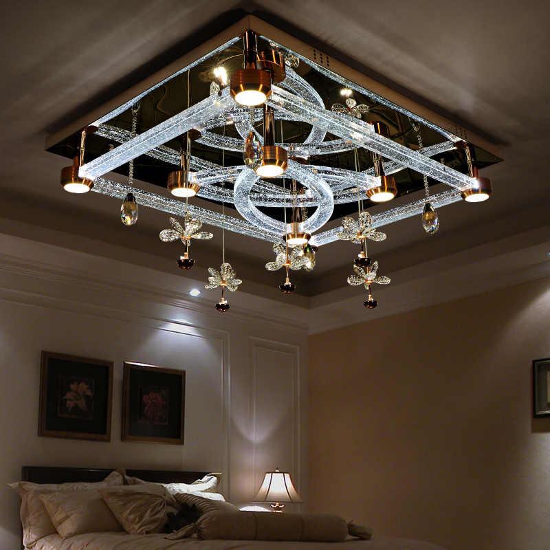 DOXA светодиодный потолочный светильник кристальная стильная потолочная лампа для гостиной спальни триколор затемнения плафон домашние люстры освещение