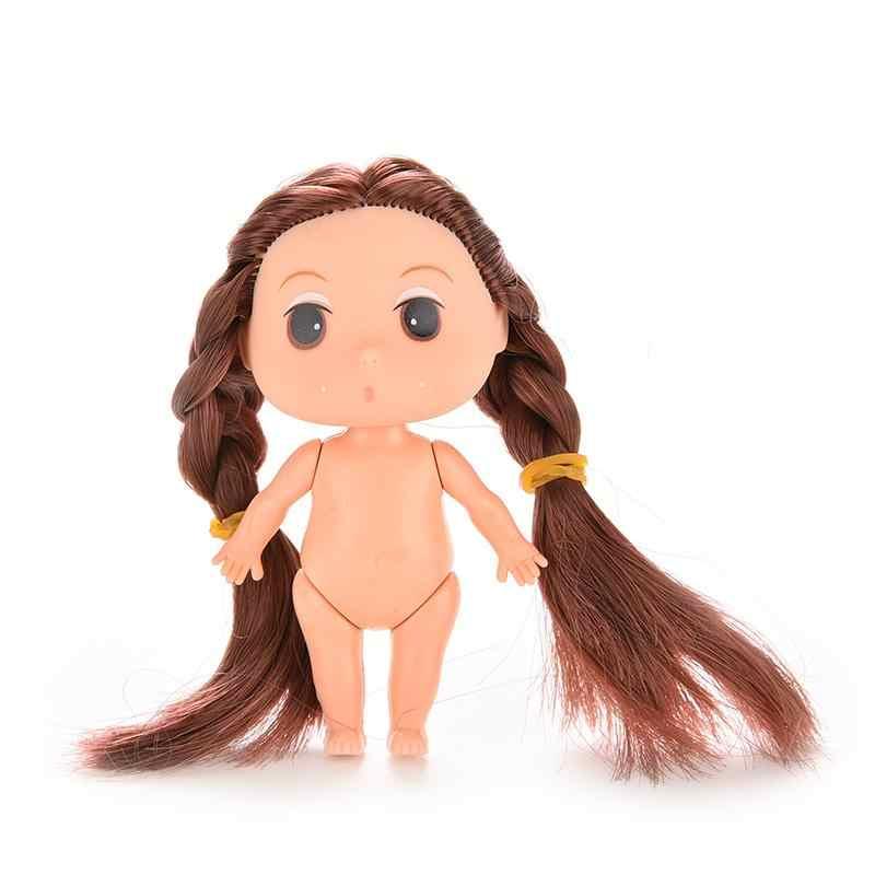 """1 pcs 3.5 """"Mini Boneca para Boneca ddung 9 cm para Mini Ddung Dolls com Marrom Loiro Bun Cabelo molde de cozimento Bonecas Menina Brinquedos"""