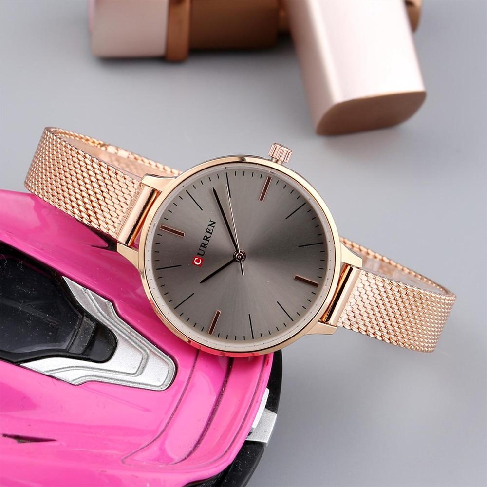 hot fashion quartz watch for women casual ladies watch free shipping waterproof elegant golden steel mesh band (22)