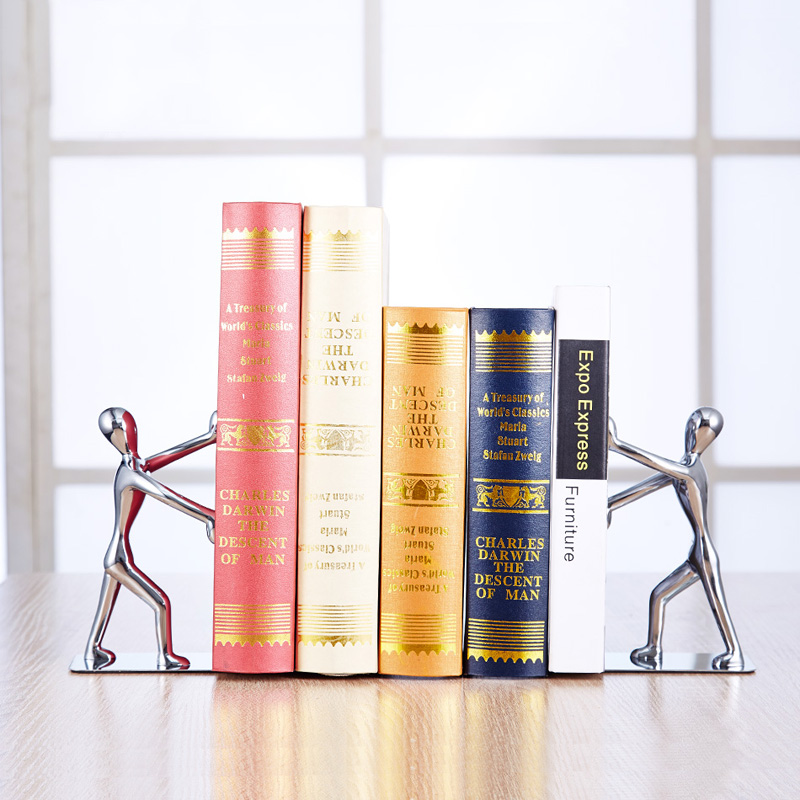2 pcs/pair Quality Stationery Supplies Stainless Steel Zinc Alloy Double Bookshelf Bookends Books Bright Bookend gramercy шкаф aberdreen double bookshelf