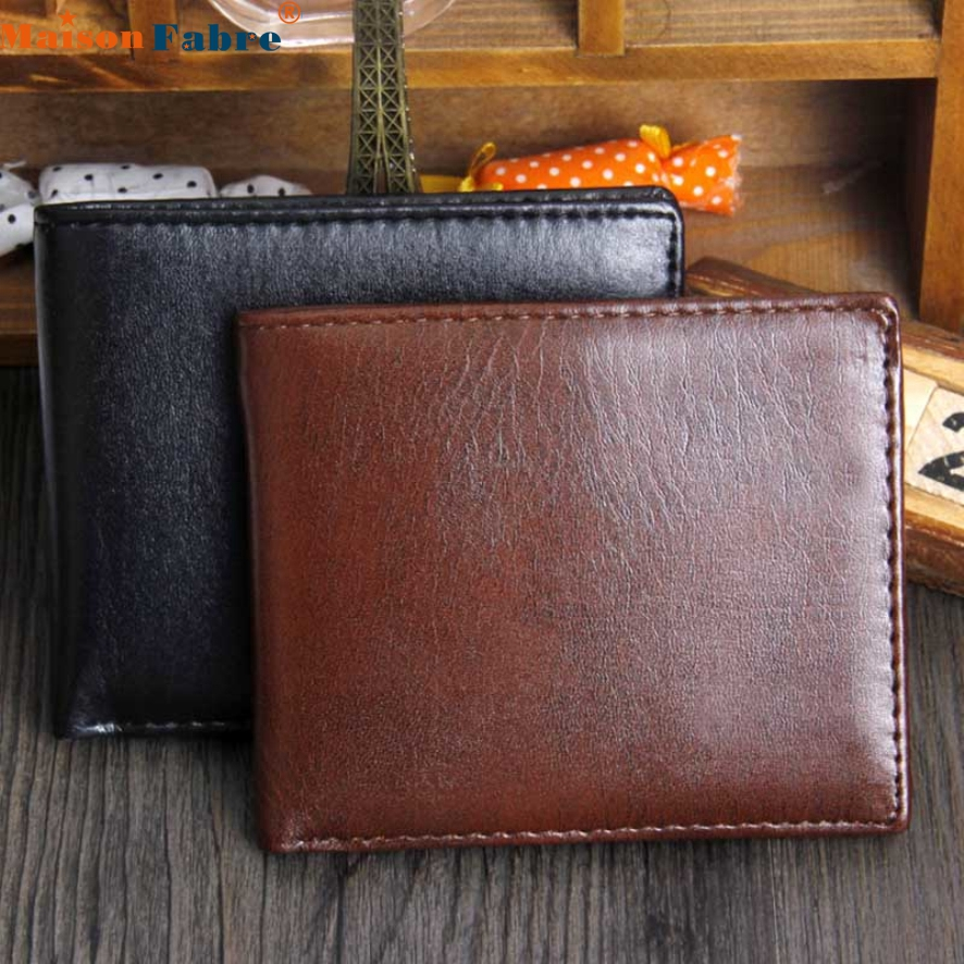 New Fashion Portfolio Men Leather Wallets Famous Brand Luxury Male Short Wallet Purses Brown Masculine Carteira Maison Fabre 2016 famous brand new men business brown black clutch wallets bags male real leather high capacity long wallet purses handy bags