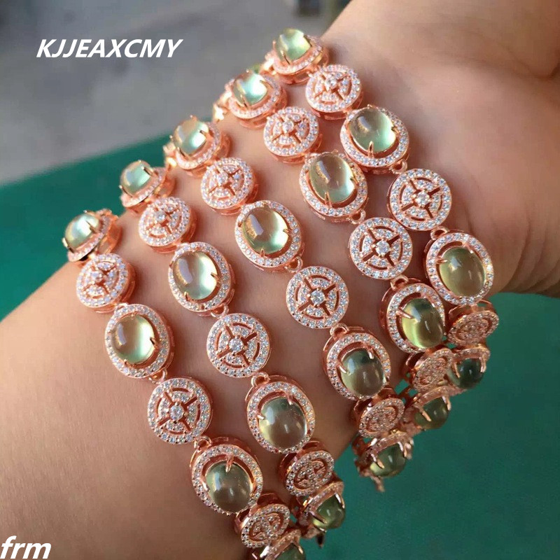 KJJEAXCMY Fine jewelry Since the natural fluorescence grape Prehnite 925 Sterling Silver Bracelet shinv wholesale