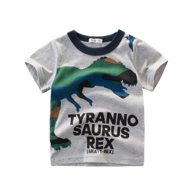 b27dc5f85 2-8Y Cartoon Print Baby Boys Dinosaur T Shirt For Summer Infant Kids Boys  Girls Lion T-Shirts Clothes Cotton Toddler Tops