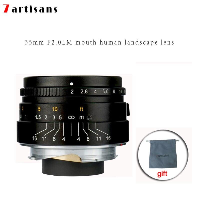 7 artisans 35mm F2 Grande Ouverture paraxial M-monture pour Appareils Photo Leica M-M M240 M3 M5 M6 m7 M8 M9 M9P M10 Livraison Gratuite