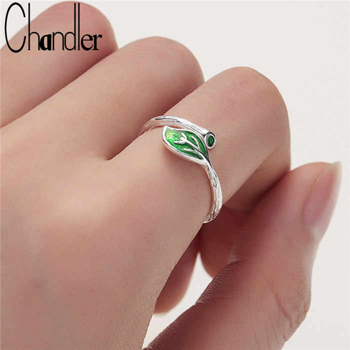 Chandler 925 Leaf Silver Ring Green Enamel Leaves Branch Opening Ring for Woman Girl Simple Special Bague Finger Rings Jewelry