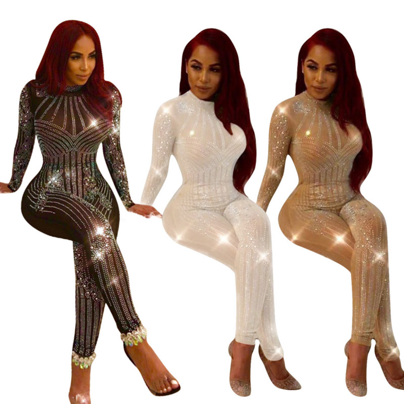 2018 new Autumn Women Slim Sexy Mesh Transparent Evening Party Playsuit Long Sleeve Bodycon Zippers Romper Club bandage   Jumpsuit