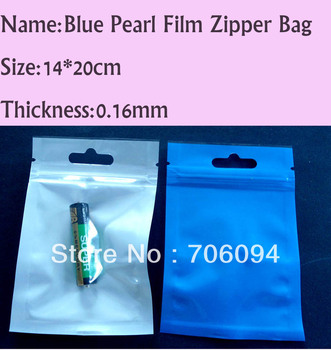 300PCS 14x20cm Pearl Blue Zipper Plastic bag with Butterfly hole/euro hole,Pearl film Plastic bag,Zipper Package Bag