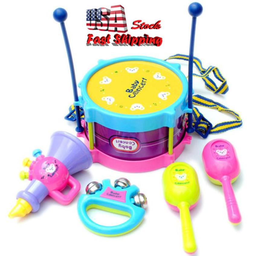 2018 New Wireless Instrument Toys for Girls boy 5pcs Kids Baby Roll Drum Musical Instruments Band Kit Children Kids Party Song