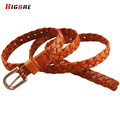 Black Female Casual Genuine Leather Brown Braided Cow Skin Straps Women's Pin Buckle Belt Fashion Decoration Student Belt Weave