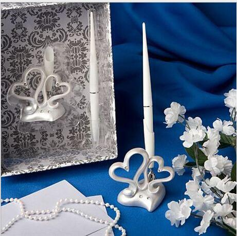 free shipping double heart signature pen wedding guest register pen set bridal shower resin sign pen holder set party decors
