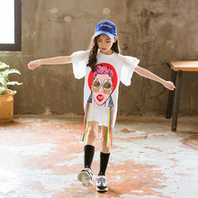 Baby Girls Clothes 2019 Summer A-shaped Dress Children Cartoon Red Lips Beauty Dresses Flare Sleeve Wedding 4-11Y