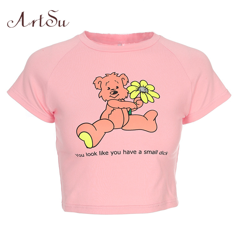 ArtSu Kawaii Cartoon Pink Top Short Sleeve Crop Top Summer Casual Cute Women T Shirt Tee Shirt Femme Fashion ASTS20378