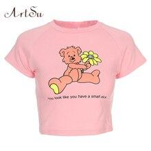 ArtSu Kawaii Cartoon Pink Top Short Sleeve Crop Top Summer C