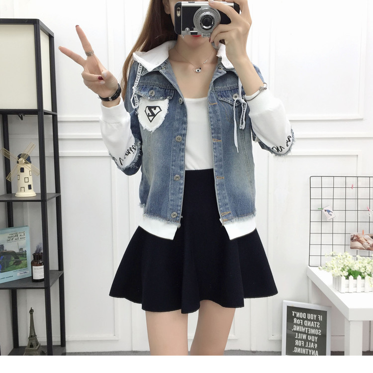 New Autumn Casual Hooded Short Denim Jacket Women Fashion Splicing Patch Coat Plus size Pockets Loose Jackets Jeans Coat Female 48