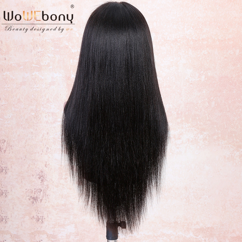 WoWEbony 360 Lace Wigs Indian Remy Hair Yaki Straight 6 Inches Deep Part Human Hair Lace Wigs Pre-plucked Hairline [N360YK01]