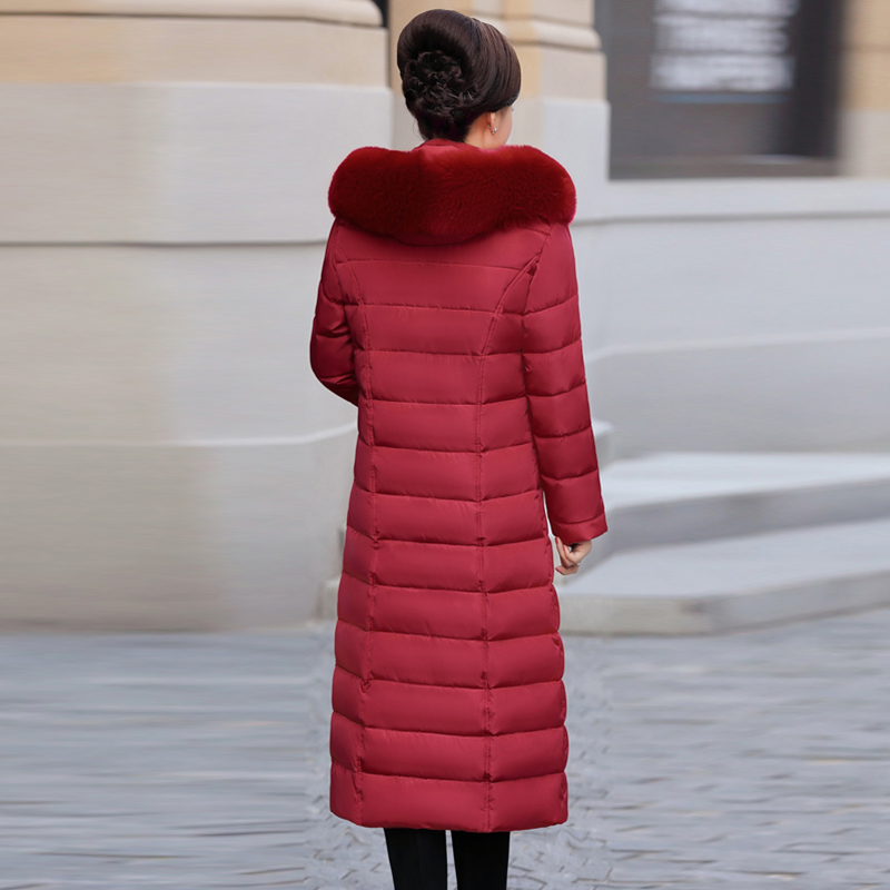 Coton vert Noir ardoisé Parkas La Veste Col De rouge Plus Femmes À D'hiver Manteau bourgogne Taille Hiver Capuchon Rembourré Outwear Long Automne 2018 Fourrure Owq1RHH