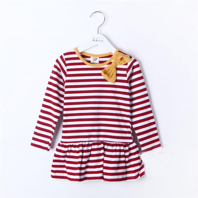 Autumn Navy Style Bow Girls Clothing Baby Long sleeve Dress 0468