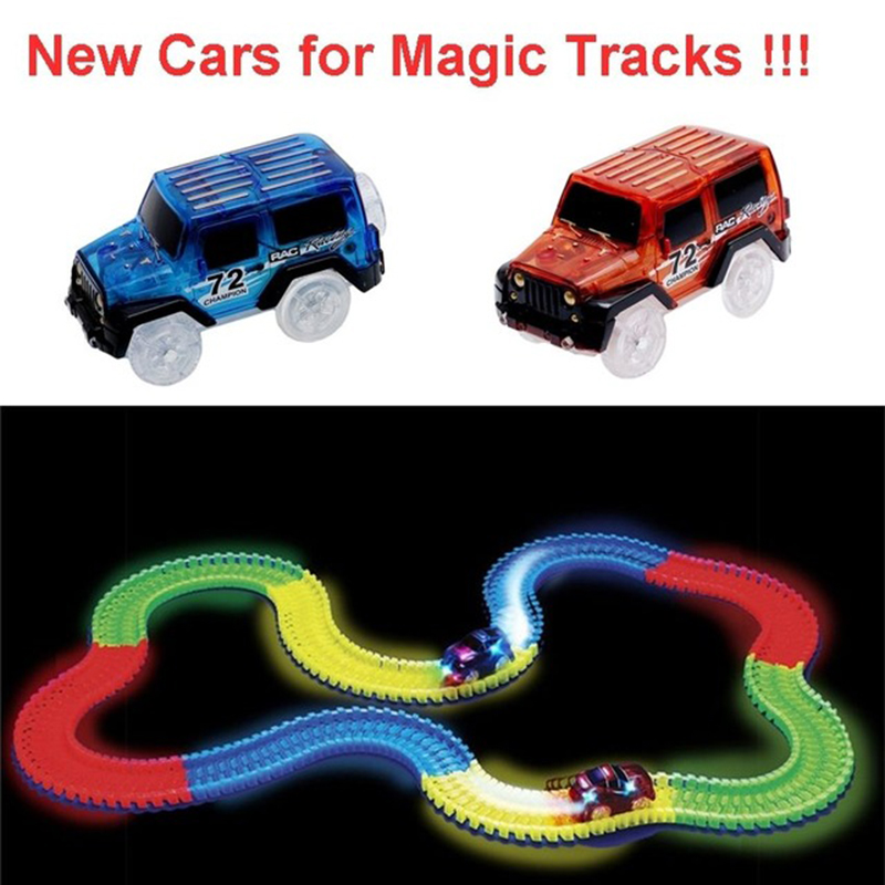 2018 Mini Race Tracks LED Car Toys Flashing Lights Car Play In The Glow Track Flexible Racing Cars For Children's Birthday Gifts