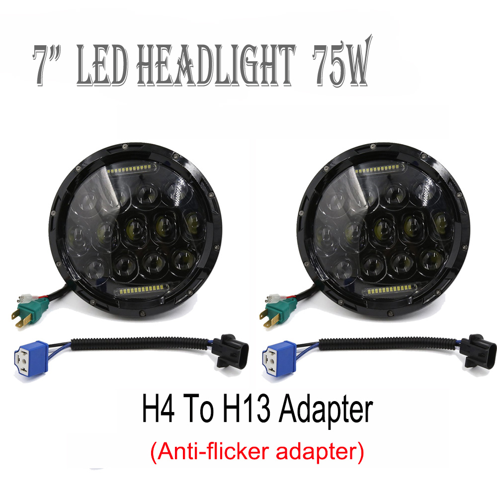 75W 7inch Round Halo LED Headlight lamp with DRL Hi/lo Beam for 1997-2016 Jeep Wrangler Jk TJ Harley Motorcycle