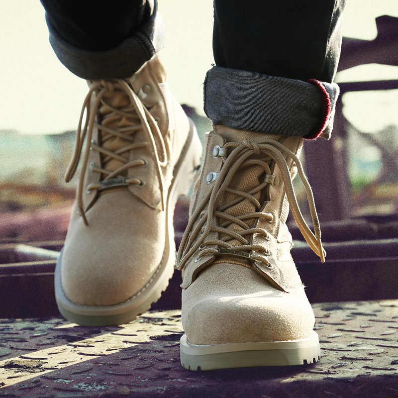 KESMALL Мужские ботинки в стиле милитари, большие размеры, Мужская обувь в  армейском стиле ff173eb5459