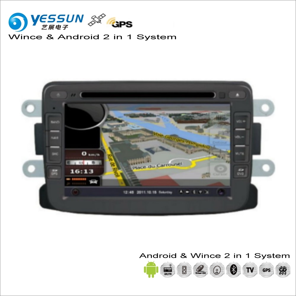 YESSUN For Renault Logan Symbol / For Dacia Logan - Car Radio CD DVD Player GPS Navigation Wince & Android 2 in 1 System martin logan ml 66i in wall