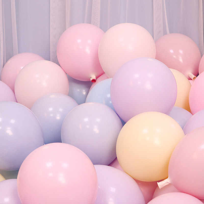 10pcs 12inch 2.2g Macaron Foil Balloons Holiday Birthday Wedding Room Layout Latex Balloons Arch Birthday Party Decorations Kids