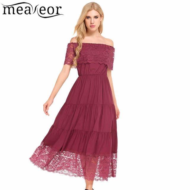 9467edd207f0 Meaneor Women Off Shoulder Dress 2018 Summer Lace Patchwork A-Line Pleated  Hem Ankle-Length Solid Dress Casual Beach Vestidos