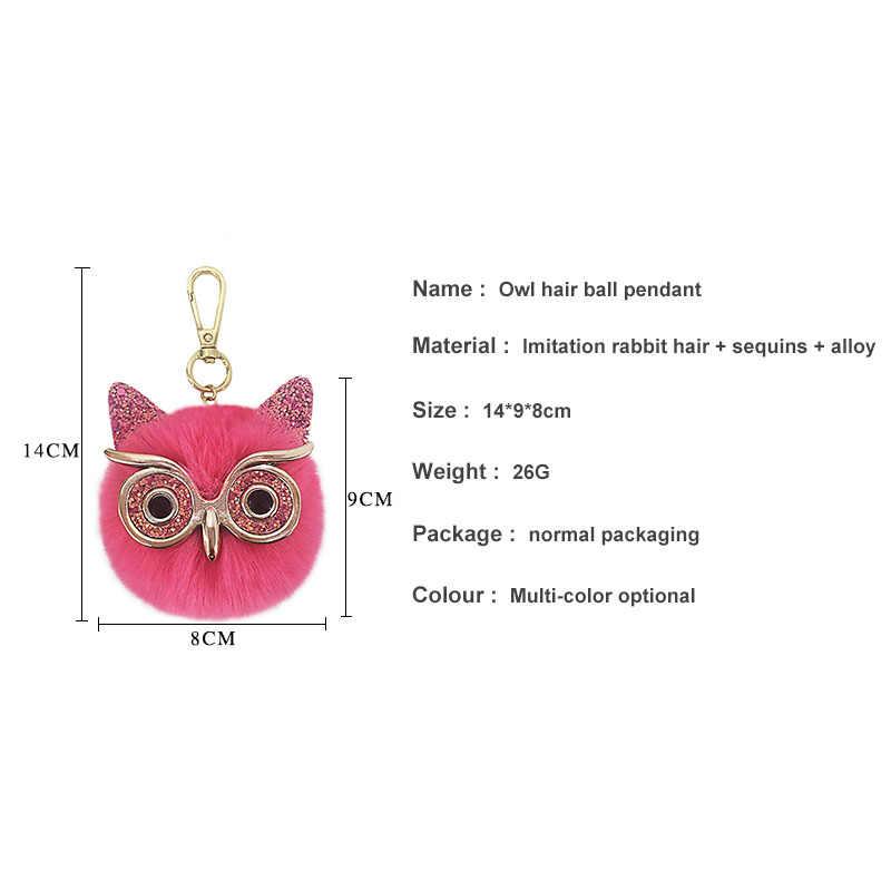 Pom Pom Keychain ใหม่ Big Eyes Owl FUR Key แหวนจี้สุภาพสตรีกระเป๋าเดินทางเครื่องประดับอุปกรณ์เสริมไดรฟ์ปลอดภัย KEY โซ่