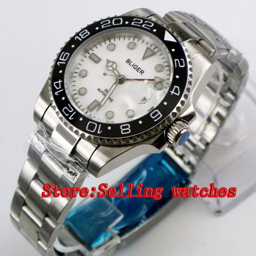 40mm Bliger White Dial black ceramic bezel red GMT Luminous Hands Sapphire Glass Automatic Movement Men's Mechanical watches 40mm bliger white dial white ceramic bezel gmt luminous hands sapphire glass automatic movement men s mechanical watches