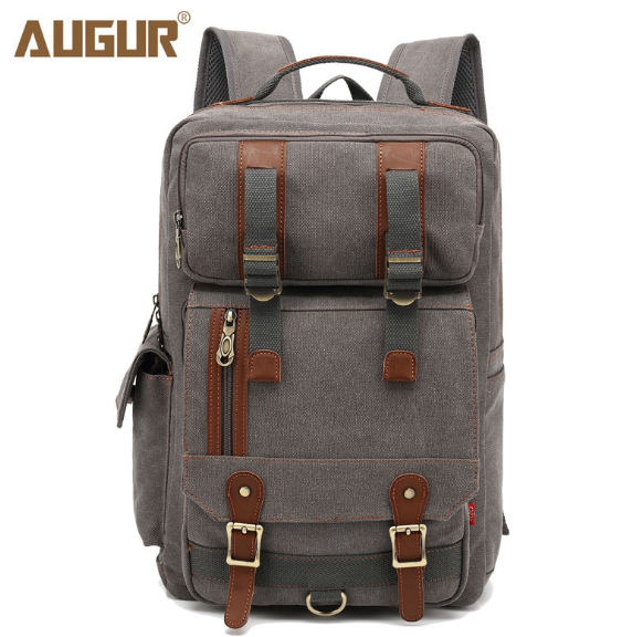 2018 AUGUR  New large capacity canvas backpack Multi functional shoulder canvas men's school bag and women laptop travel bag-in Backpacks from Luggage & Bags    1