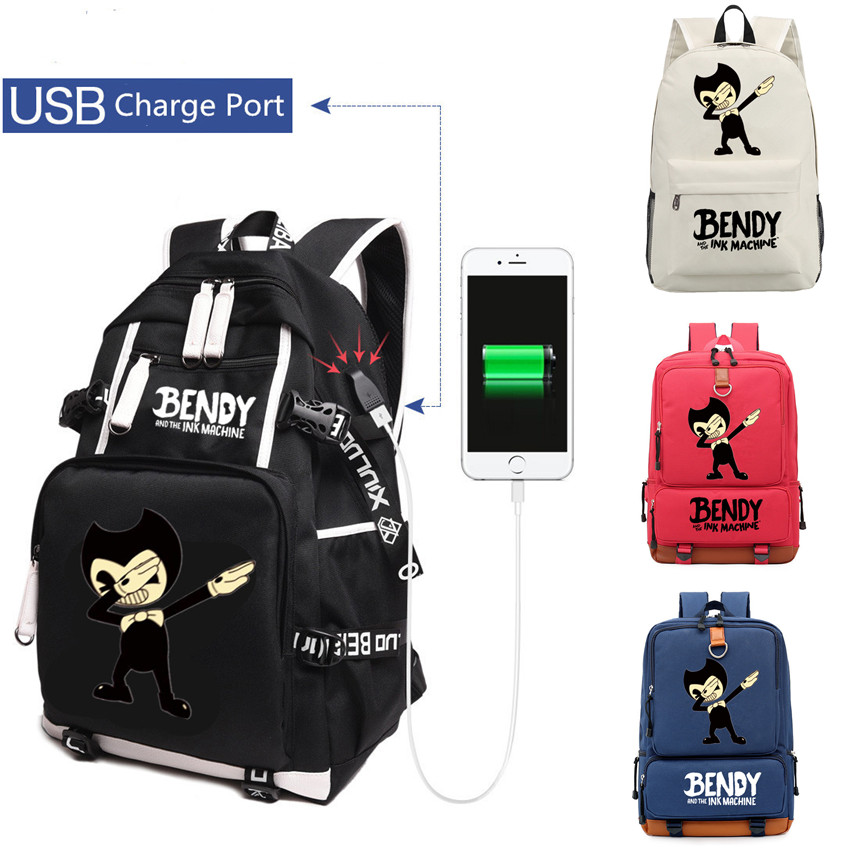 Dabbing Ink Machine bendy Backpack students USB Charge Mochila travel School Bag Casual Laptop bagpack for children