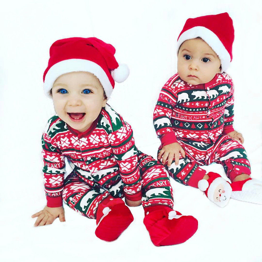 Infant Baby Boys Girls Christmas Santa XMAS Letter Plaid Romper ...