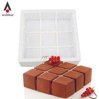 Wulekueシリコーン3d幾何学シンプルさ型ケーキ飾るベーキングツール用チョコレートムースシフォン鋳型cubik洋菓子アート