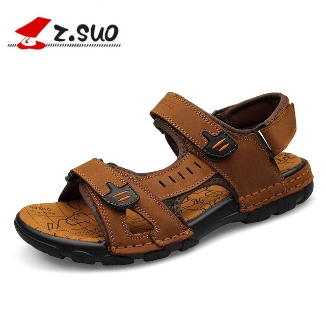 Z.suo Genuine Leather Men Sandals New 2018 Summer Walking Sandals for Man  Fashion Brand a9f444b8888a