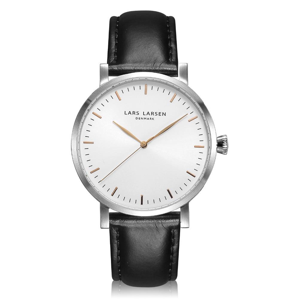 Luxury Brand Lars Larsen Men Waterproof Quartz Watch Water Resistant Casual Simple Dress Wristwatch Black Leather Strap NEW lars larsen lars larsen 122rban