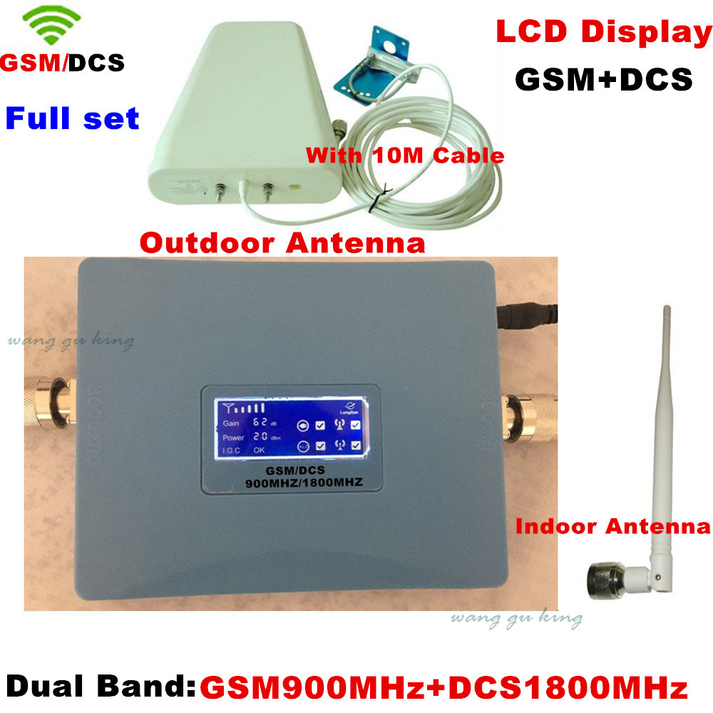 Full Set LCD !! Dual Band Indoor Outdoor Antenna +10M Cable GSM 900MHZ & DCS 1800mhz Signal Booster GSM Repeater DCS Amplifier