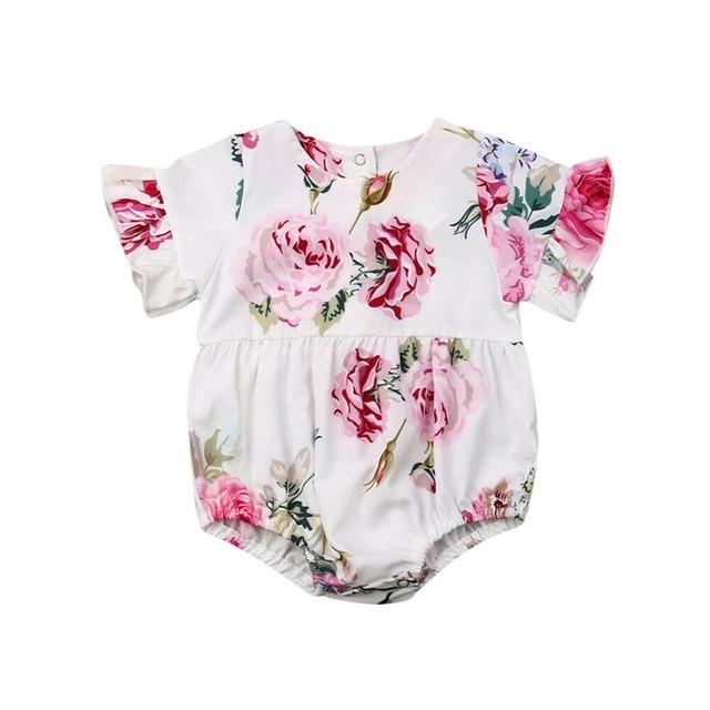 3ba04bb00 Summer Newborn Baby Girls clothes Floral print Button short sleeve Bodysuit  Ruffle round neck kids Toddler Jumpsuit one pieces