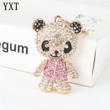 Panda Skirt Pink Arm Head Move Keyring Pendant Rhinestone Crystal Purse Bag Key chain Jewelry Birthday Party Wedding Girl Gift(China)
