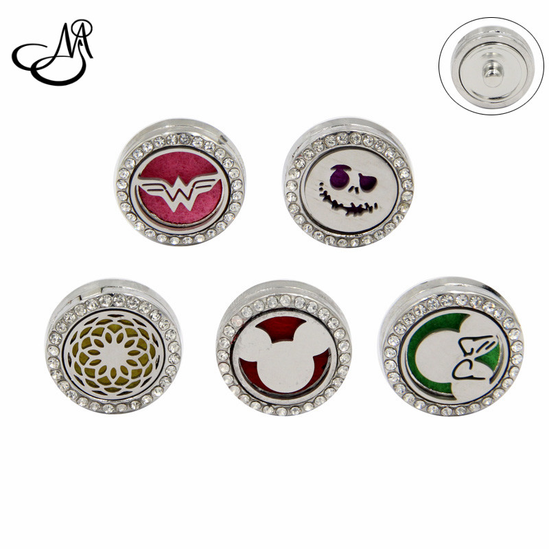 Mixed Crystal Mouse Flower Jack Aromatherapy Snap Button Essential Oil Diffuser Perfume Locket For 18 Snap Button Charm Jewelry