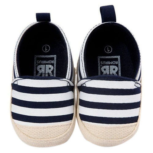 ABWE Best Sale ROMIRUS Cute Baby Shoes Baby Girl Boy Striped Shoes Soft Sole First Walkers Navy blue 0-6M