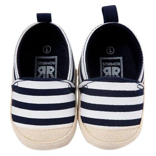Abwe Best продажи romirus/милые Обувь для младенцев для маленьких девочек в полоску для мальчиков Обувь мягкая подошва Обувь для малышей темно-сини...