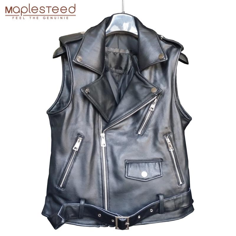 MAPLESTEED femmes en cuir gilet avec ceinture 100% véritable peau de mouton peau de vache 4 couleur moto motard manteau femme gilet automne 006