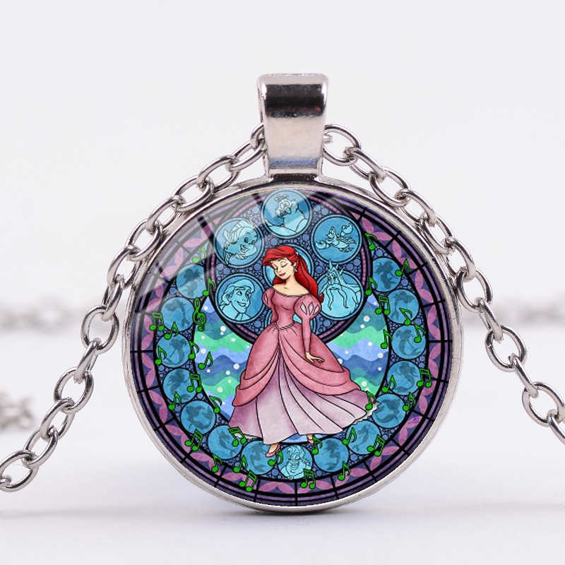 Songda Merek Little Mermaid Ariel Princess Kalung Kristal Kaca Bulat Liontin Kalung Lucu Gaun Pesta Perempuan Aksesoris