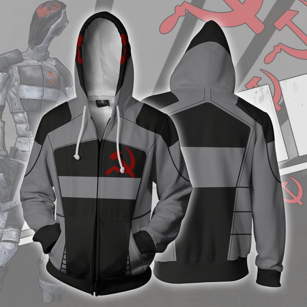 <font><b>Borderlands</b></font> 2 assassin Zer0 <font><b>Costume</b></font> <font><b>Borderlands</b></font> Hoodies Jackets Cosplay 3D Print Zipper Hoodies Sweatshirt Hoodies Hip Hop Coat image