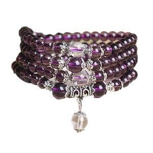 Image 1 -   Fine Jewelry Hot sale! 6mm Crystal Stone 108 Prayer Beads Mala Bracelet Necklace