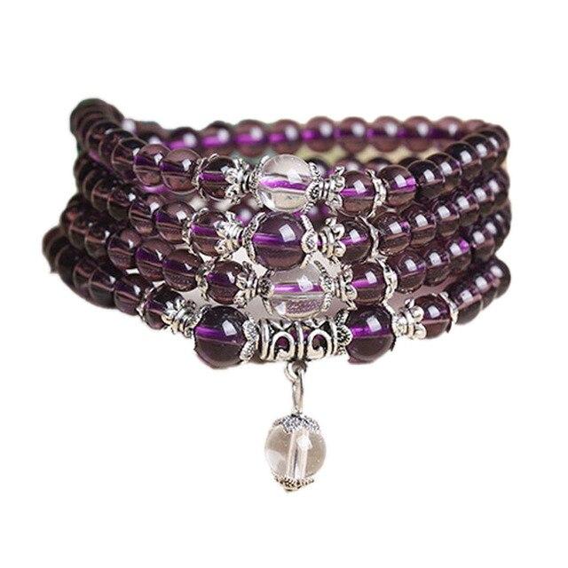 Fine Jewelry Hot sale! 6mm Crystal Stone 108 Prayer Beads Mala Bracelet Necklace