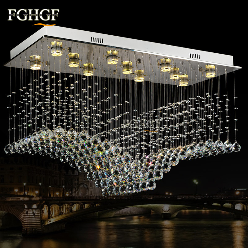 Rectangle Wave Lamp Luxury Modern Crystal Chandelier Light Lustres Hall Cristal Lamp Home Lighting for Flush Mounted Lights|crystal chandelier lighting|modern crystal chandelier lighting|chandelier lighting - title=